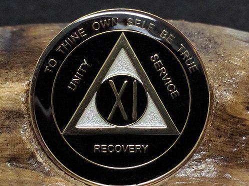 Black & Gold Sobriety Medallion