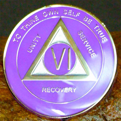 Amethyst and Silver Sobriety Medallion