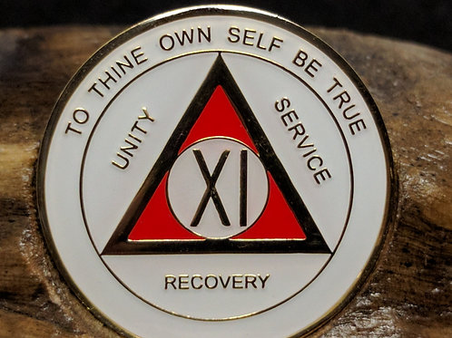 White and Red Sobriety Medallion