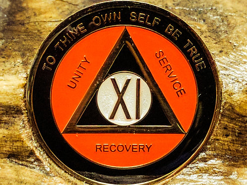 Black and Orange Sobriety Medallion