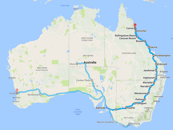 Adelaide to Cairns, 3600km. The other rides I've done in the past year were shorter (Adelaide-Perth was only 2700km).