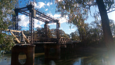 Bridge over the Murray river. This marked the border between Victoria and New South Wales. — in Tooleybuc, New South Wales.