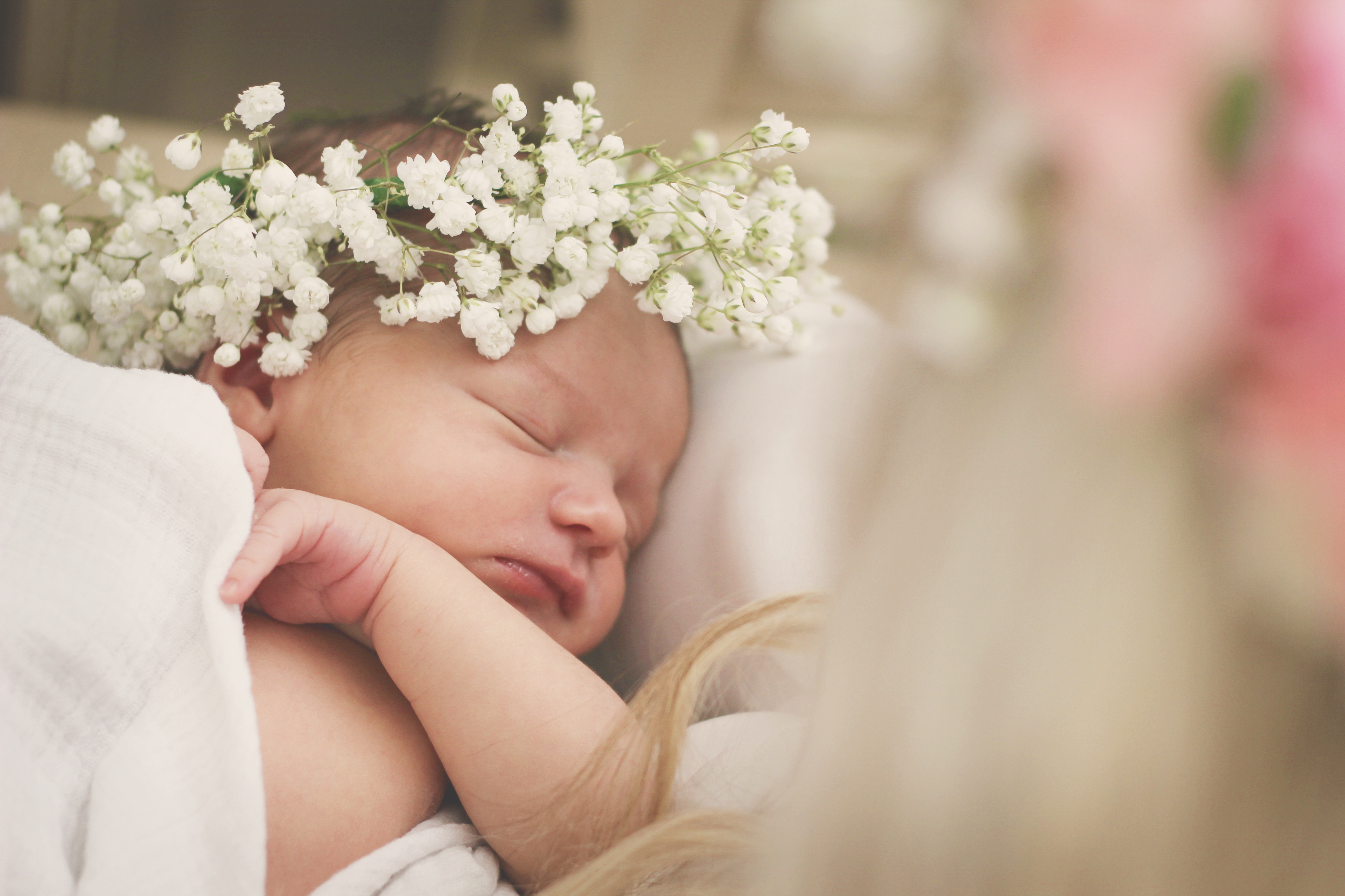 Newborn floral crown session