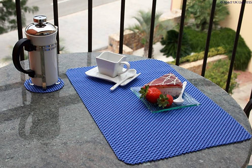 StayPut Non-Slip Tablemat (x4) and Coaster (x4) Set - Indigo Blue