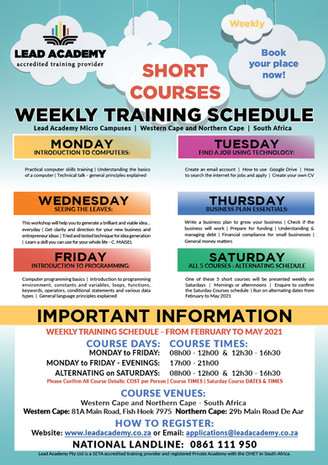 Short Courses - Weekly Summary