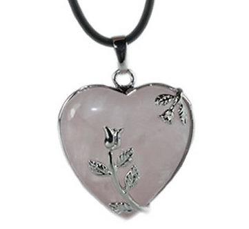 Pendentif coeur cerclé - Quartz Rose