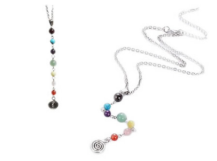 Collier long spirale - 7 Chakras