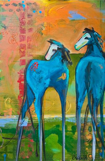 Blue ponies on orange