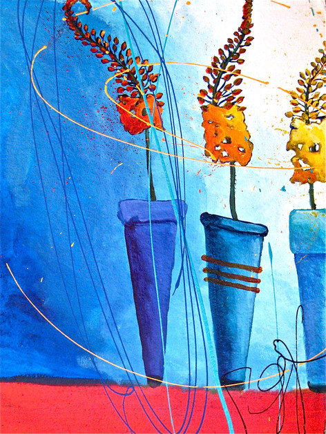 'Foxtail Liliies in Blue Pots'