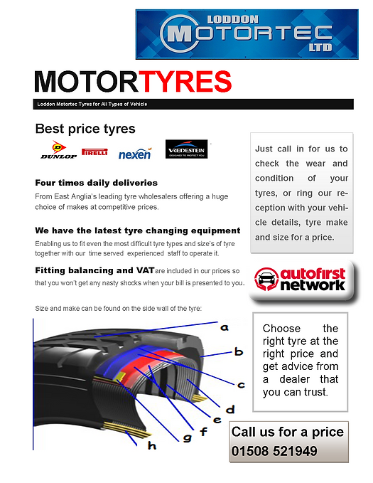 Top brand, discount tyres are on offer at Loddon Motor Tec, Norfolk with free fitting and balancing with purchase