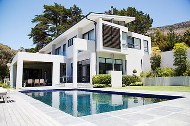 modern 2 story house with pool