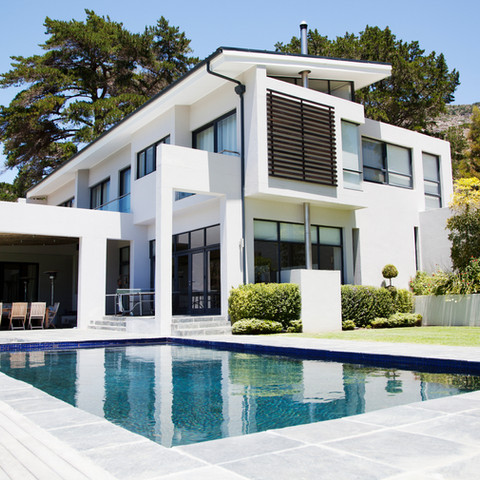 Large modern house with a pool
