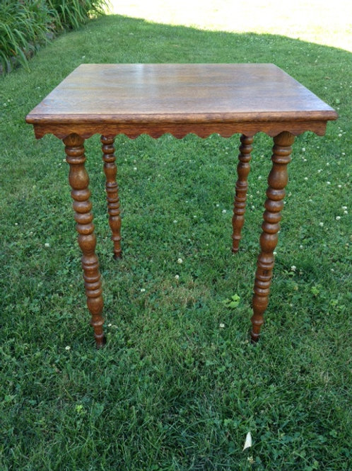 Brown wood square turned-leg side table