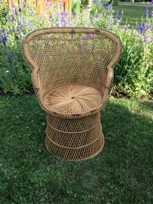 Round-back wicker chair