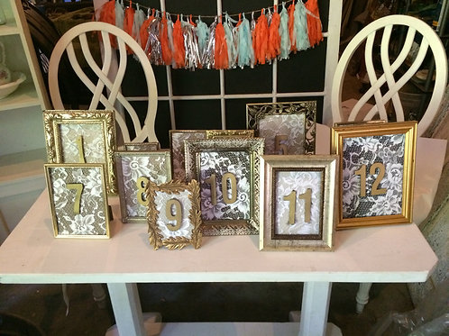 Gold & Lace Table Numbers