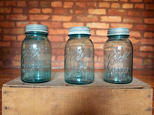 Blue Quart Size Mason Jars