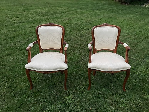 White Brocade Arm Chair
