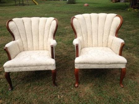 Ivory Brocade Rib-back Chair