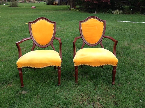 Gold Shield-back Chairs