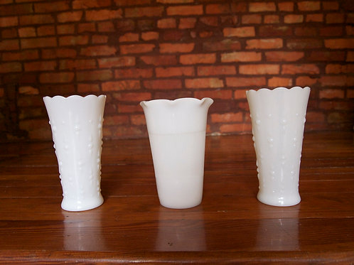 Milk Glass Wide-Mouth Vases