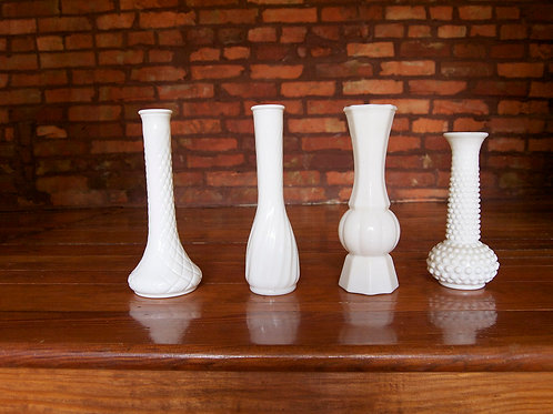 Milk Glass Tall Bud Vase