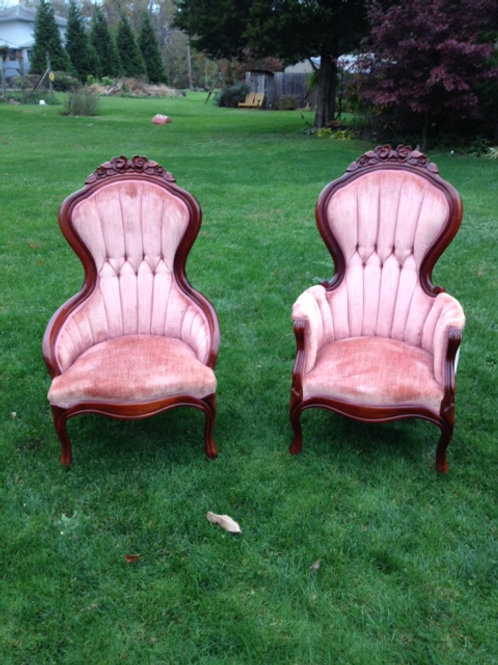 Dusty Mauve Victorian His and Her Chairs