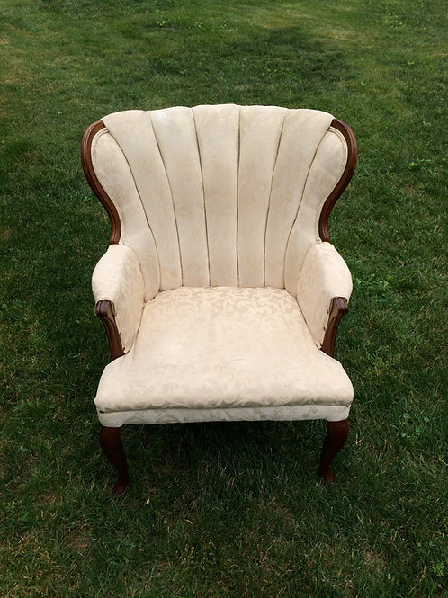 Cream Ribbed-Back Chair