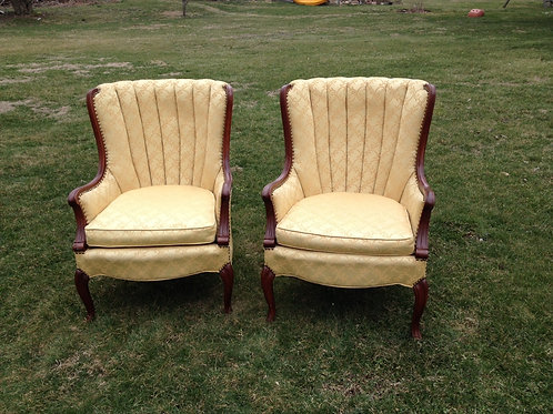 Gold brocade ribbed back chair