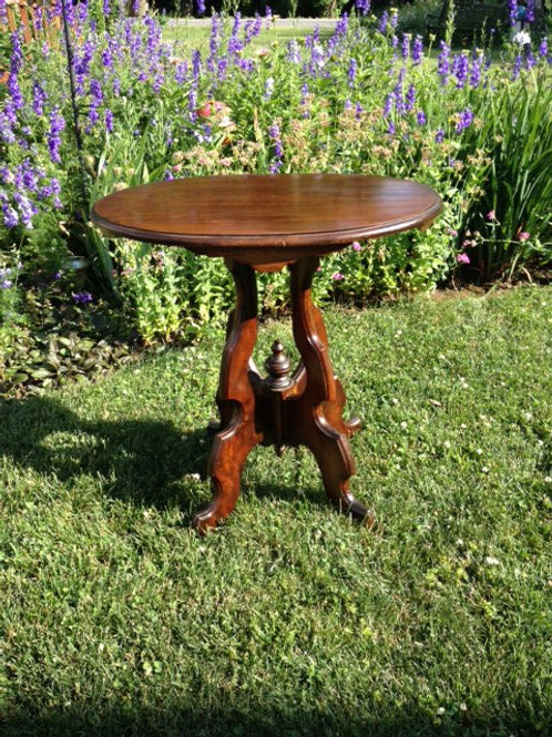 Brown Wood ornate side table