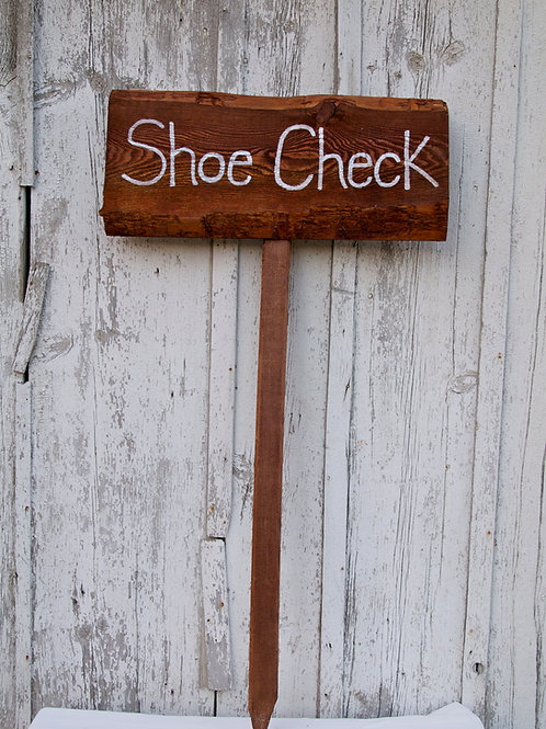 Wooden Shoe Check Sign