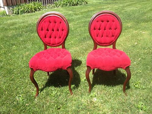 Red Tufted Chairs