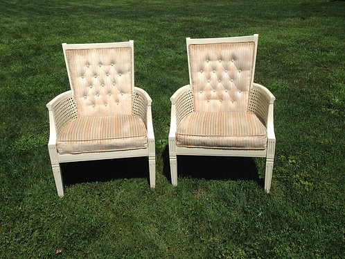 Ivory Wood Chair with Pastel Stripes