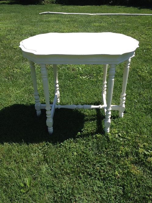White Ornate-Leg Side Table