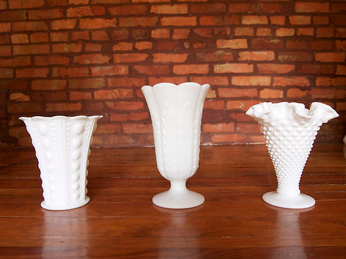 Milk Glass Wide Mouth Vase