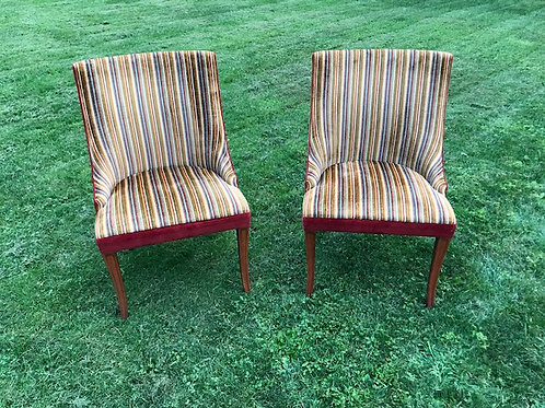 Striped Velvet Club Chair