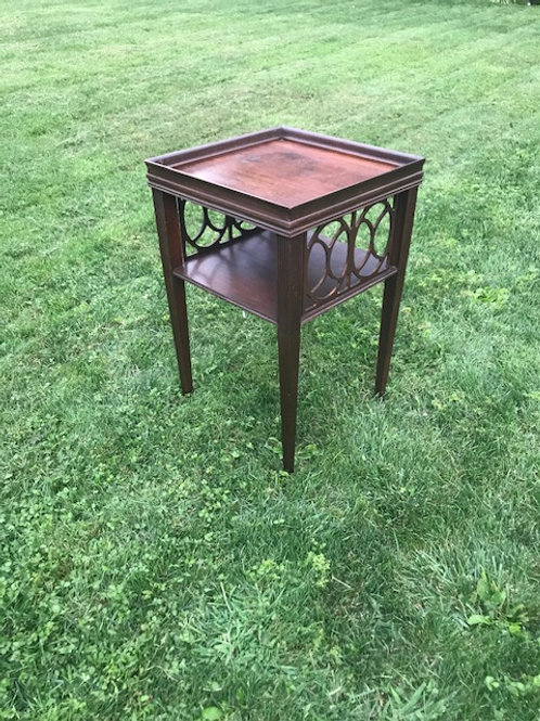 Brown Square Ornate Side Table