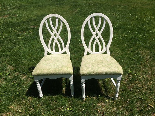 Mint Green Upholstered Floral Chairs