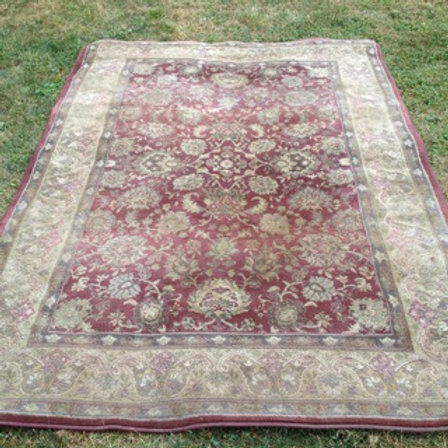 Burgundy and Tan Oriental Rug