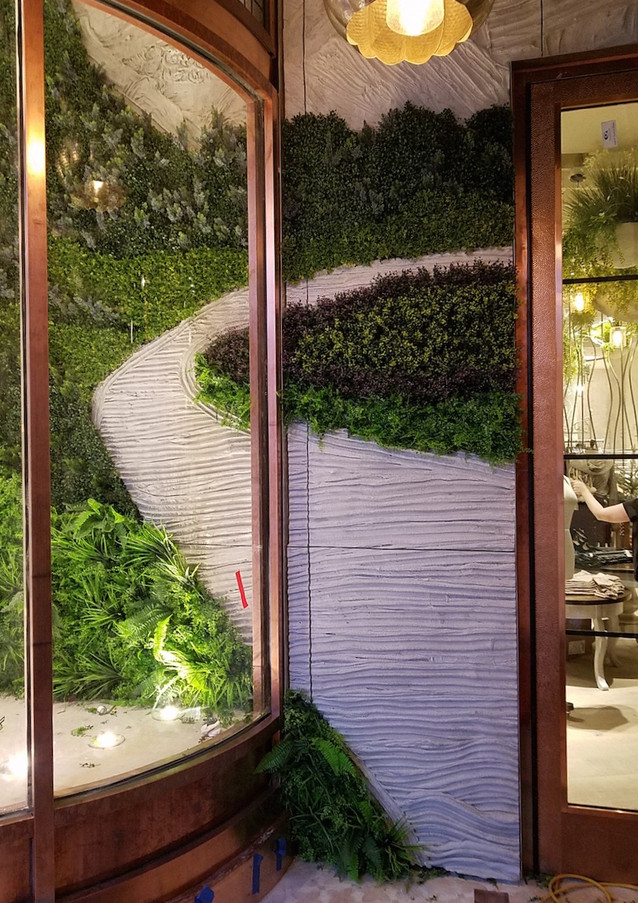 Wallscape for Commercial Project - Portland Cement with Silk Plants