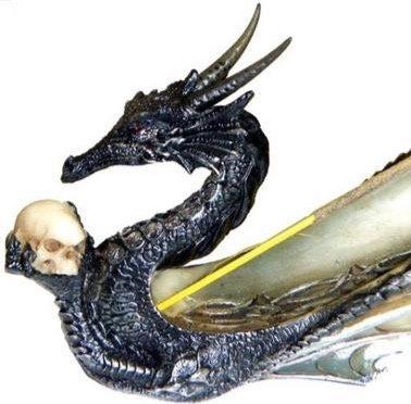 Incense Burner - Dragon w/ Skull