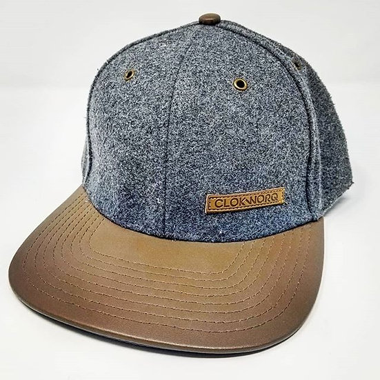 Clokworq - Leather Bill Snap Back - Grey