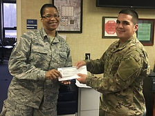 The Enlisted Association distributed several on the spot $250 USAA Scholarships. SSgt Kevin Sequen of the 282 CBCS was one of the recipients