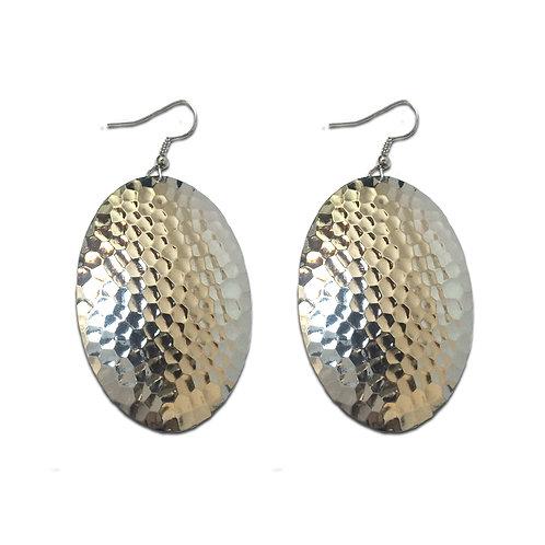Hammered Oval Domed Dangle Earrings