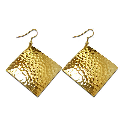Hammered Diamond Dome Dangle Earrings