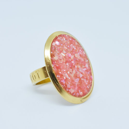 Coral Sunset Shell Resin Ring