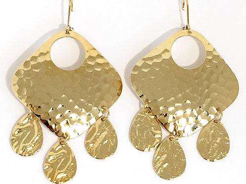 Gold Hammered Chandelier Earrings