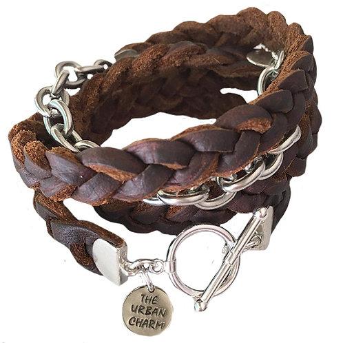 Genuine Brown Braided Four Wrap Leather Bracelet
