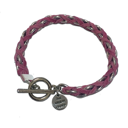 Pink Suede Woven Chain Bracelet