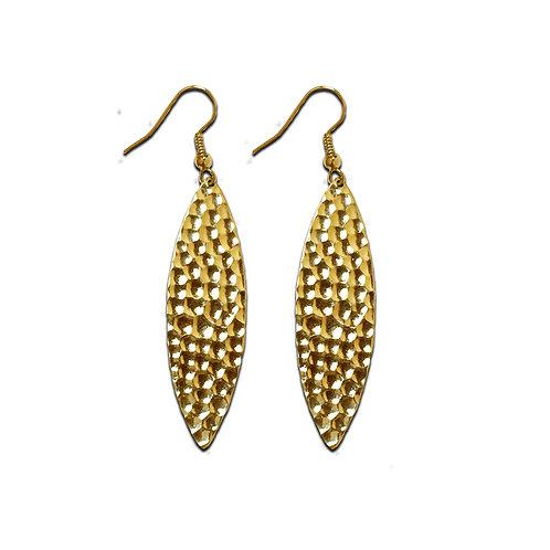 Hammered Navette Small Dangle Earrings