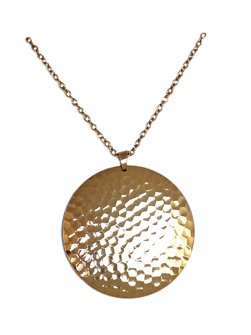 Hammered Circle Domed Dangle Necklace